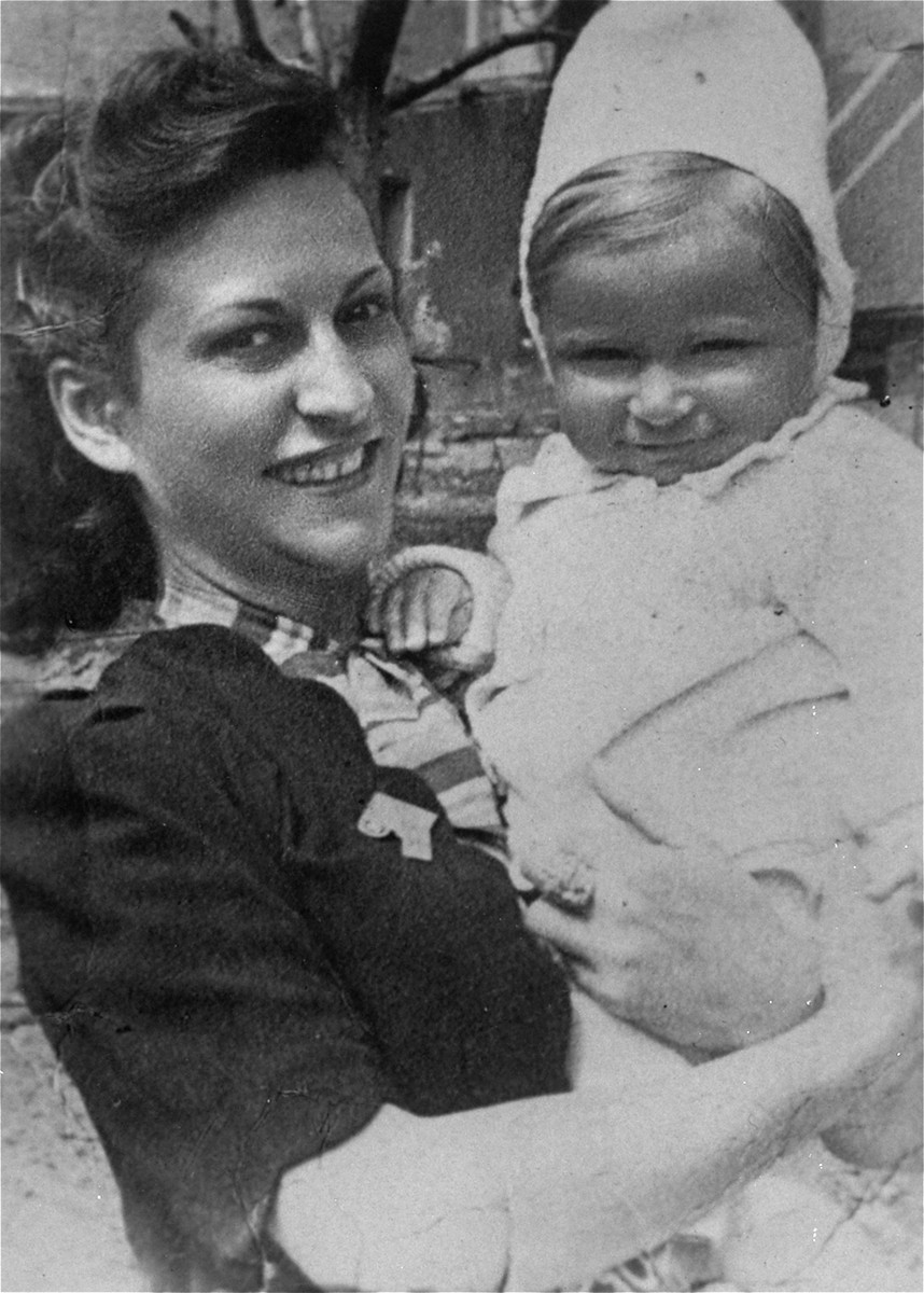 Hannah (Anka) Grinberg-Frajer and her son, David.  Both were deported to Auschwitz in August 1944 and murdered there in October 1944.  Hannah was the first wife of Henry Freier (the donor's husband).