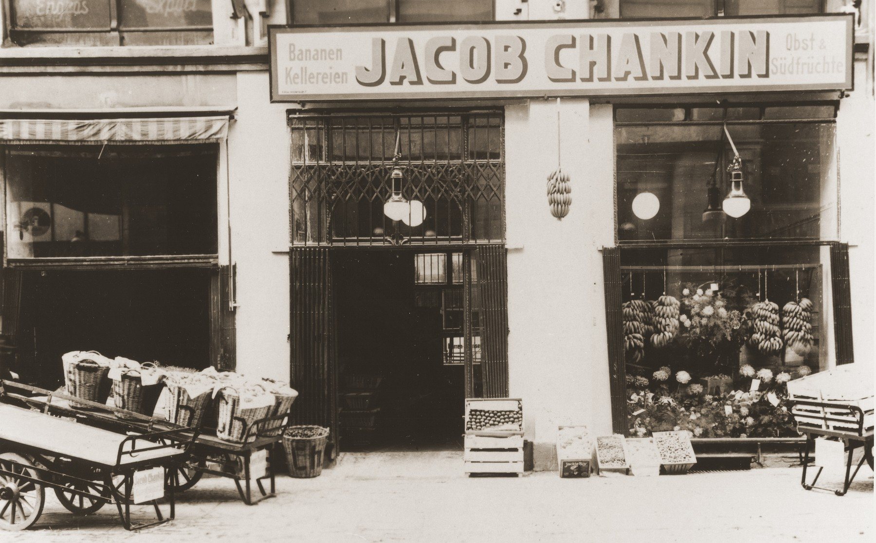 Exterior view of the fruit importing business owned by Jacob and Asya Hasenson Chankin in Berlin.  Asya was the donor's aunt, who came to Berlin from Latvia in the mid-1920s.