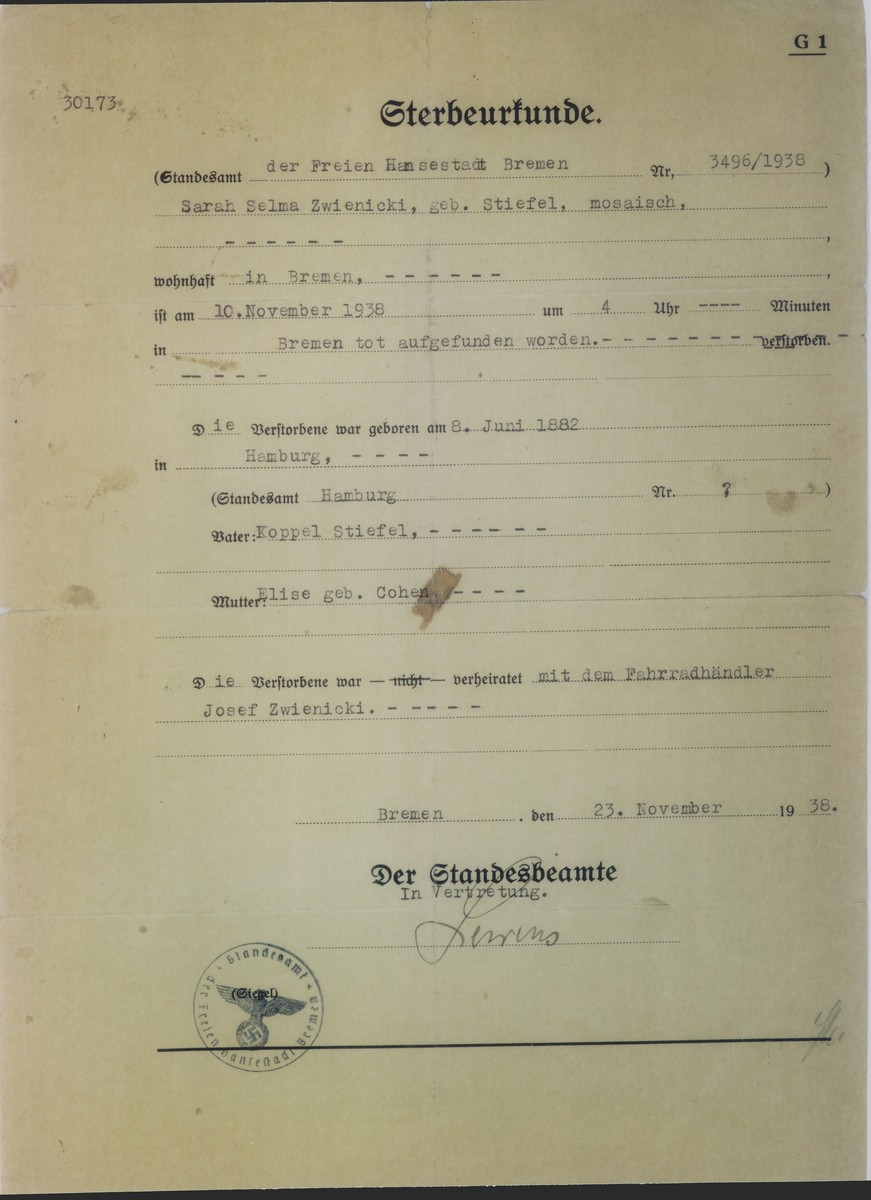 Death certificate for Selma Stiefel Zwienicki, who was killed by the Nazis during the Kristallnacht pogrom in Bremen, Germany.  The Nazi seal is on the lower left-hand corner.  Selma Stiefel was born in Hamburg on June 8, 1882.  She married Josef Zwienicki who came to Leipzig, Germany in 1913  from his native Ukraine.