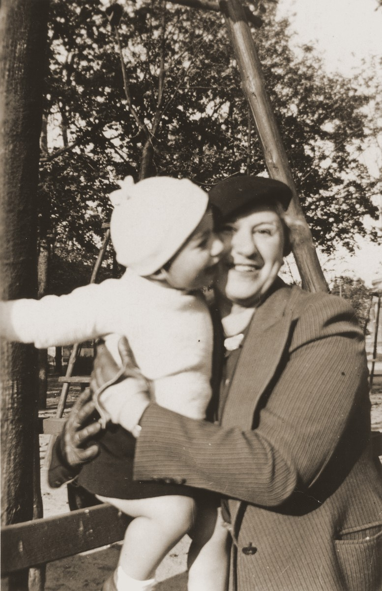 Sonja Schadur Goldstein with her daughter Evgenia.   Sonja was the sister of Michel Schadur, whom he set up in the fruit business in Berlin in the early 1930s.  Sonja married a German-Jew, Bernhard Goldstein and had one daughter while living in Berlin.  After Kristallnacht Bernhard was imprisoned briefly in Sachsenhausen.  Upon his release the family fled to Antwerp.  In March 1940 they secured American visas and sailed to the U.S.