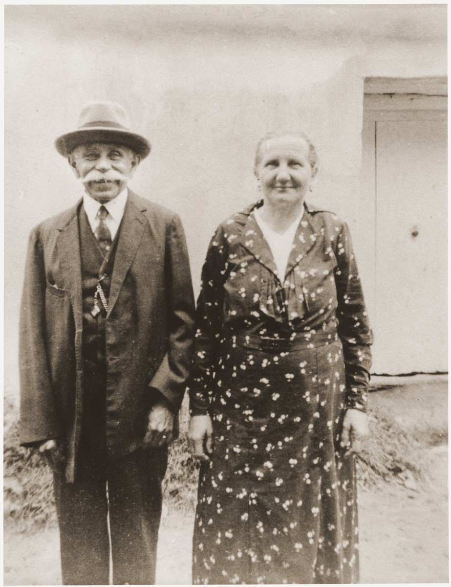 Leopold and Lina Spitzer in front of their home in Rechnitz.  Leopold was a furrier by trade, who also ran a horse and carriage taxi service.  Leopold died of natural causes during the voyage to South America in July 1939.