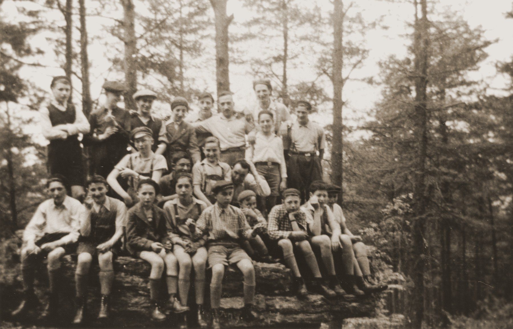 Members of the Ezra youth movement during a summer excursion in the woods.