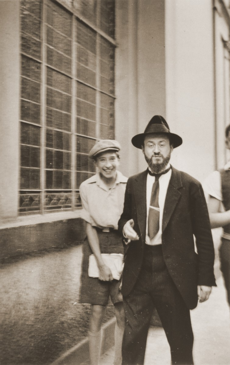Rabbi Meyer and one of his students outside the synagogue in Frankfurt-am-Main.    Rabbi Meyer taught at the Breuer yeshiva in Frankfurt am Main, which was next door to the synagogue.