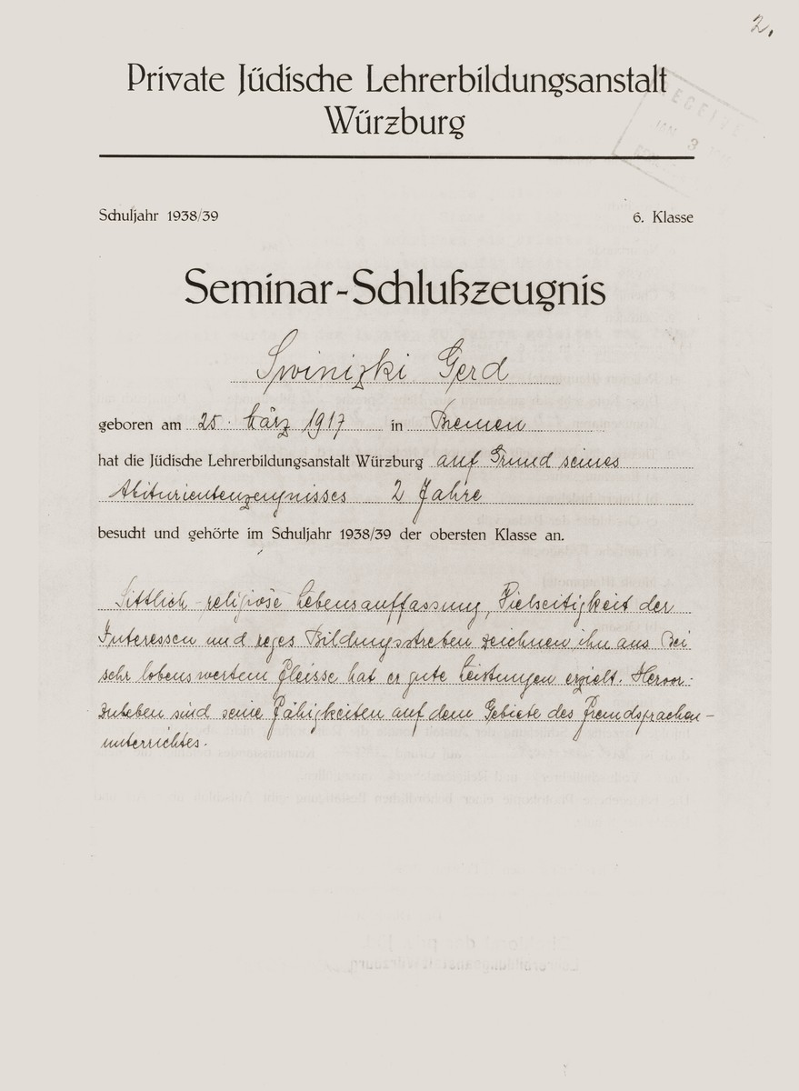 Document certifying that Gerd Zwienicki completed his studies at the Wuerzburg Jewish Teachers Seminary.