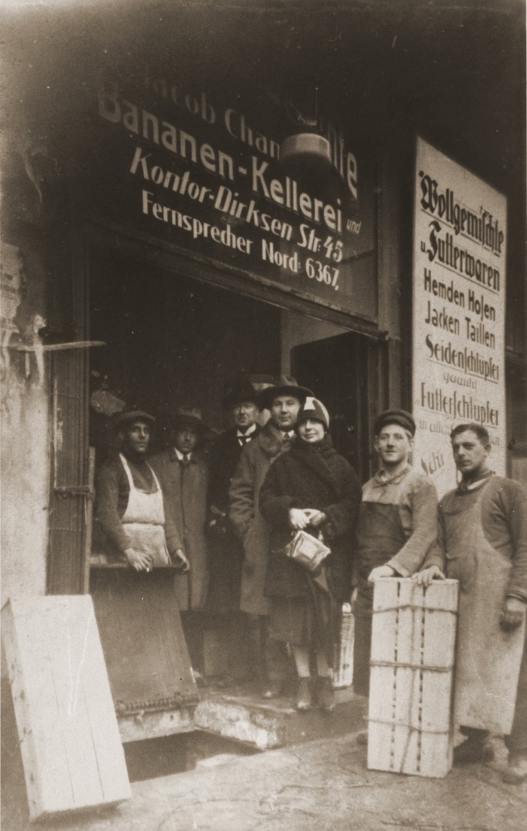 Jacob and Asya Hasenson Chankin in front of their banana importing business in Berlin.  Asya was the donor's aunt, who came to Berlin from Latvia in the mid 1920s.