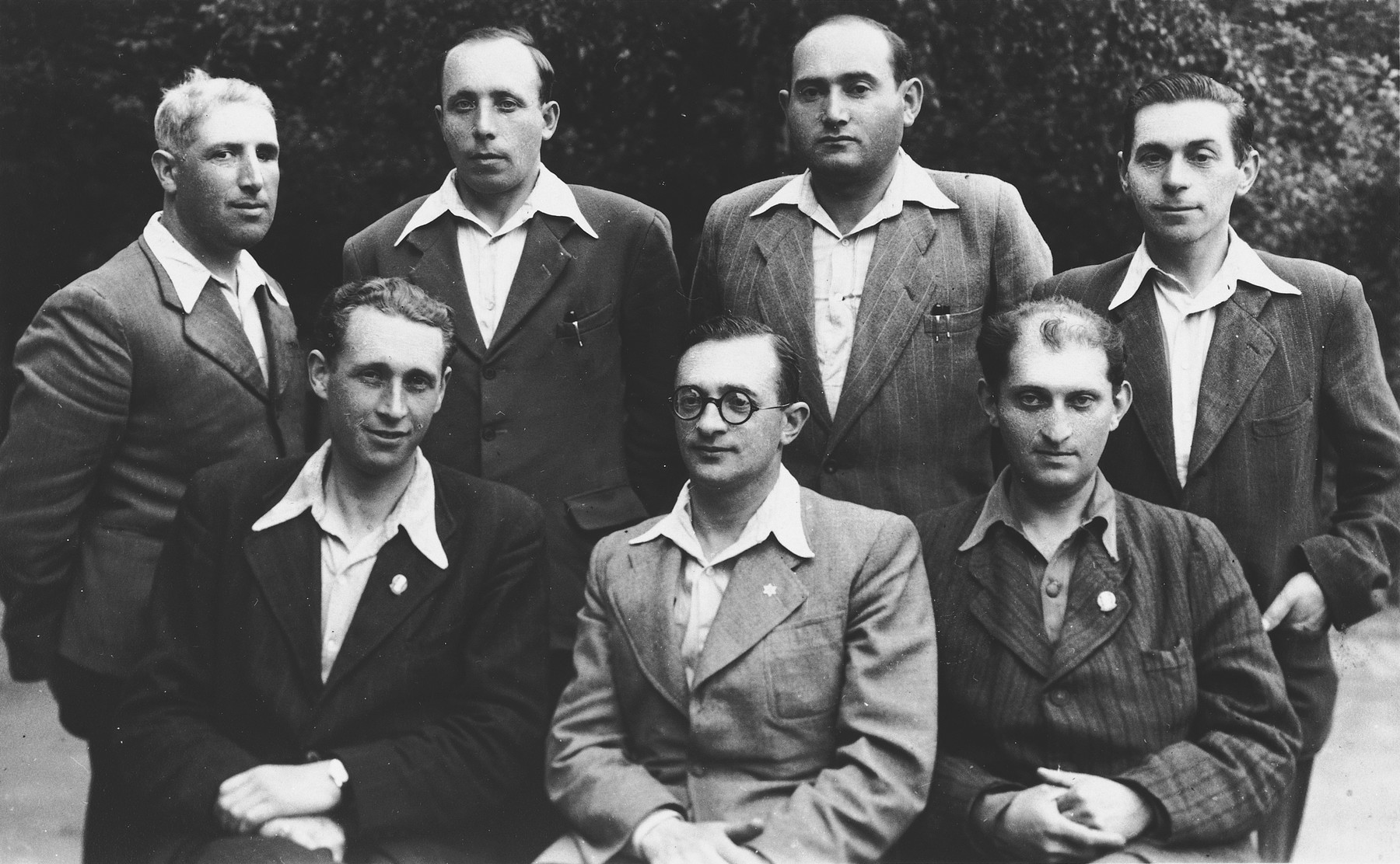 Leaders of the Lampertheim DP camp.  Abram Borenstein is standing in the back row, second from the left.