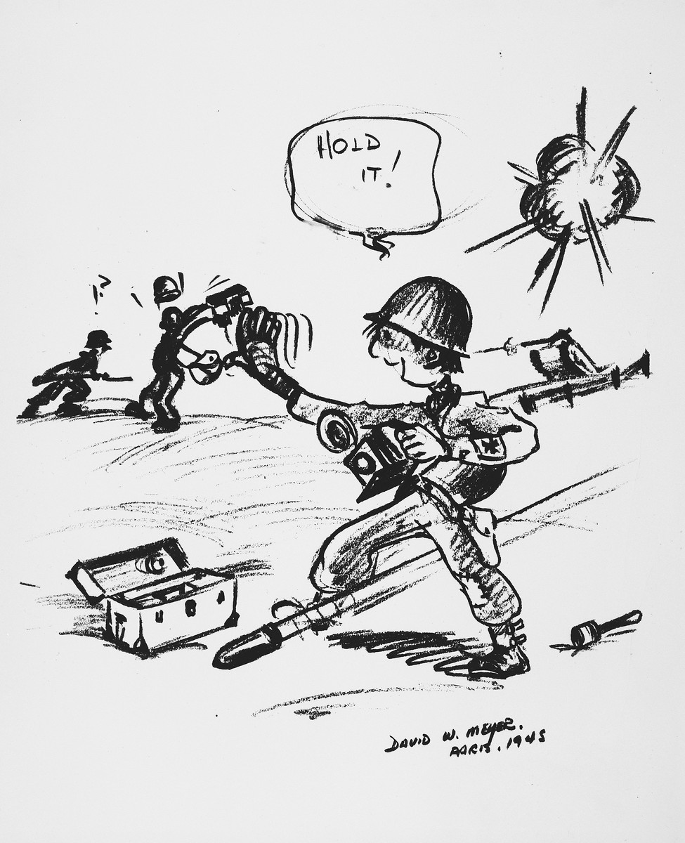 Cartoon by David W. Meyer depicting a U.S. combat photographer taking pictures in the field during World War II.