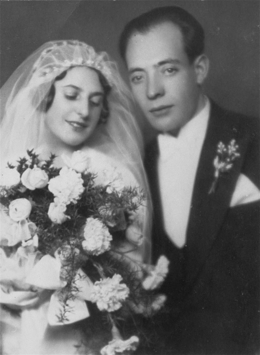Wedding portrait of Bernard and Lizzy Schwalb.