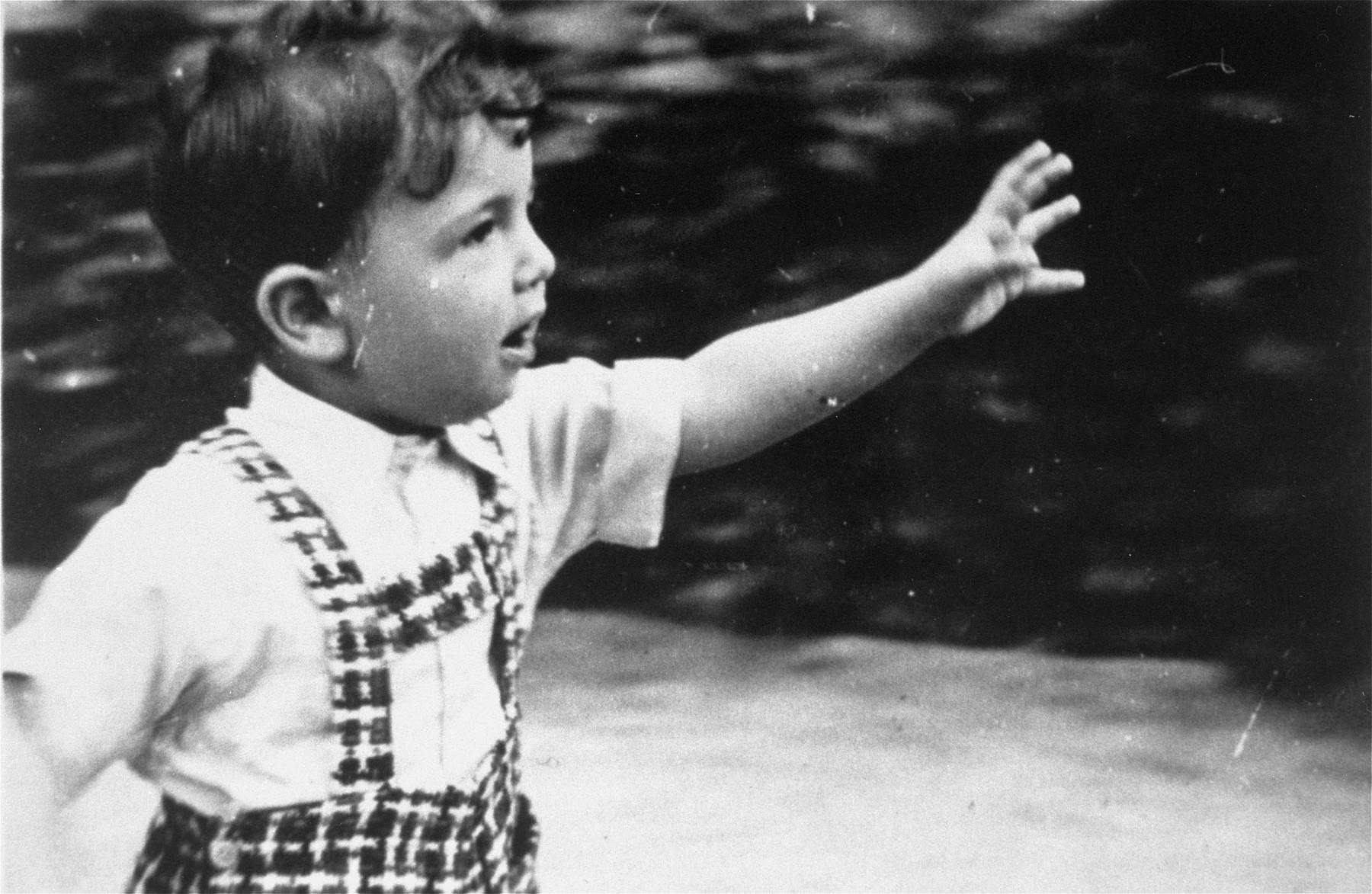 A young Jewish boy plays in a park in Vienna.  Pictured is Heinz Blumenstein.