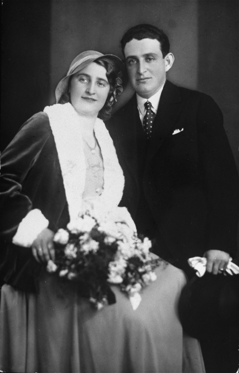 Wedding portrait of a Jewish couple in Osijek, Croatia.  Pictured are Armin and Melanka (Gruenwald) Szego.  Both perished in the Holocaust.