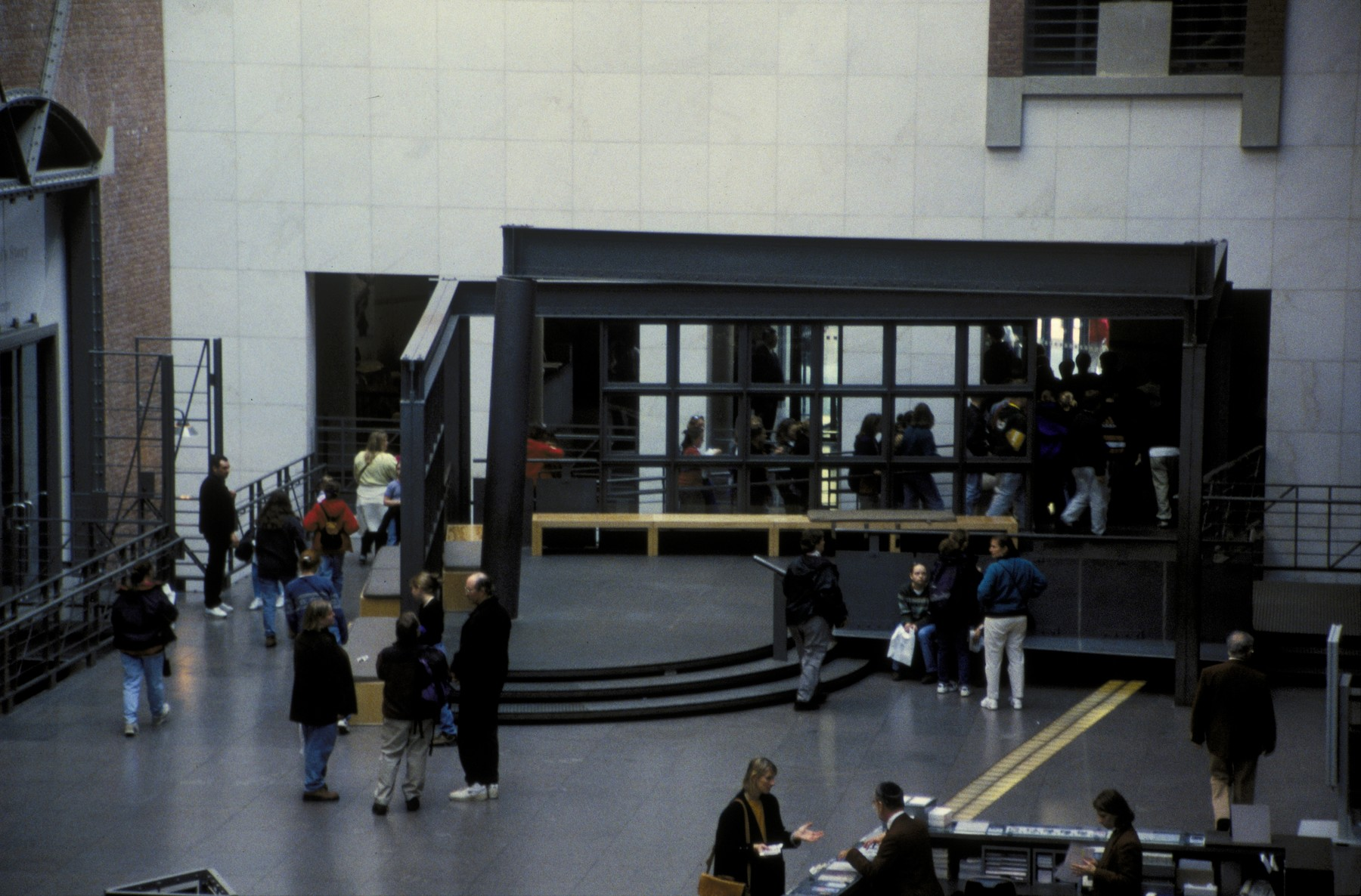 Visitors in the Hall of Witness at the U.S. Holocaust Memorial Museum.