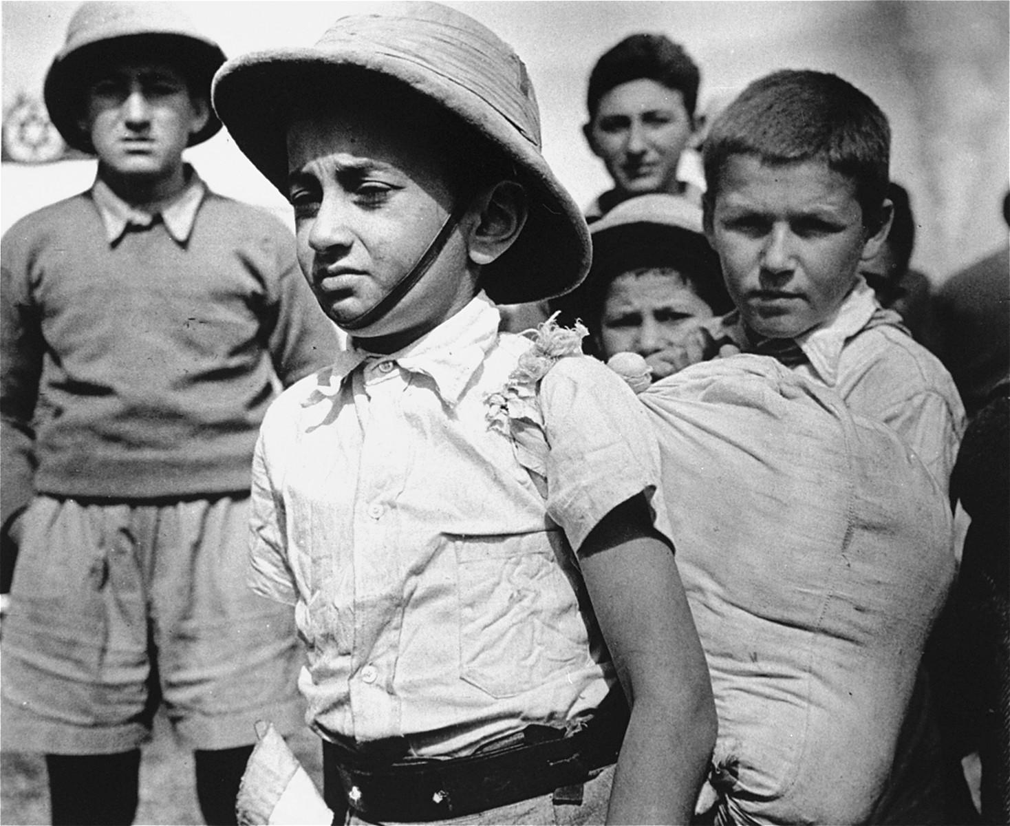 Members of the Teheran children's transport arrive in Athlit.