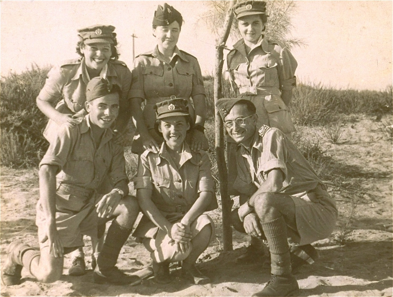 A group portrait of Jewish soldiers in the British army, during a furlough.