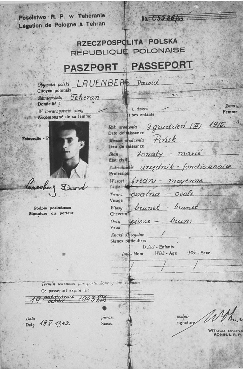 A Polish passport issued in Teheran to David Laor, a member of the Teheran children's transport.