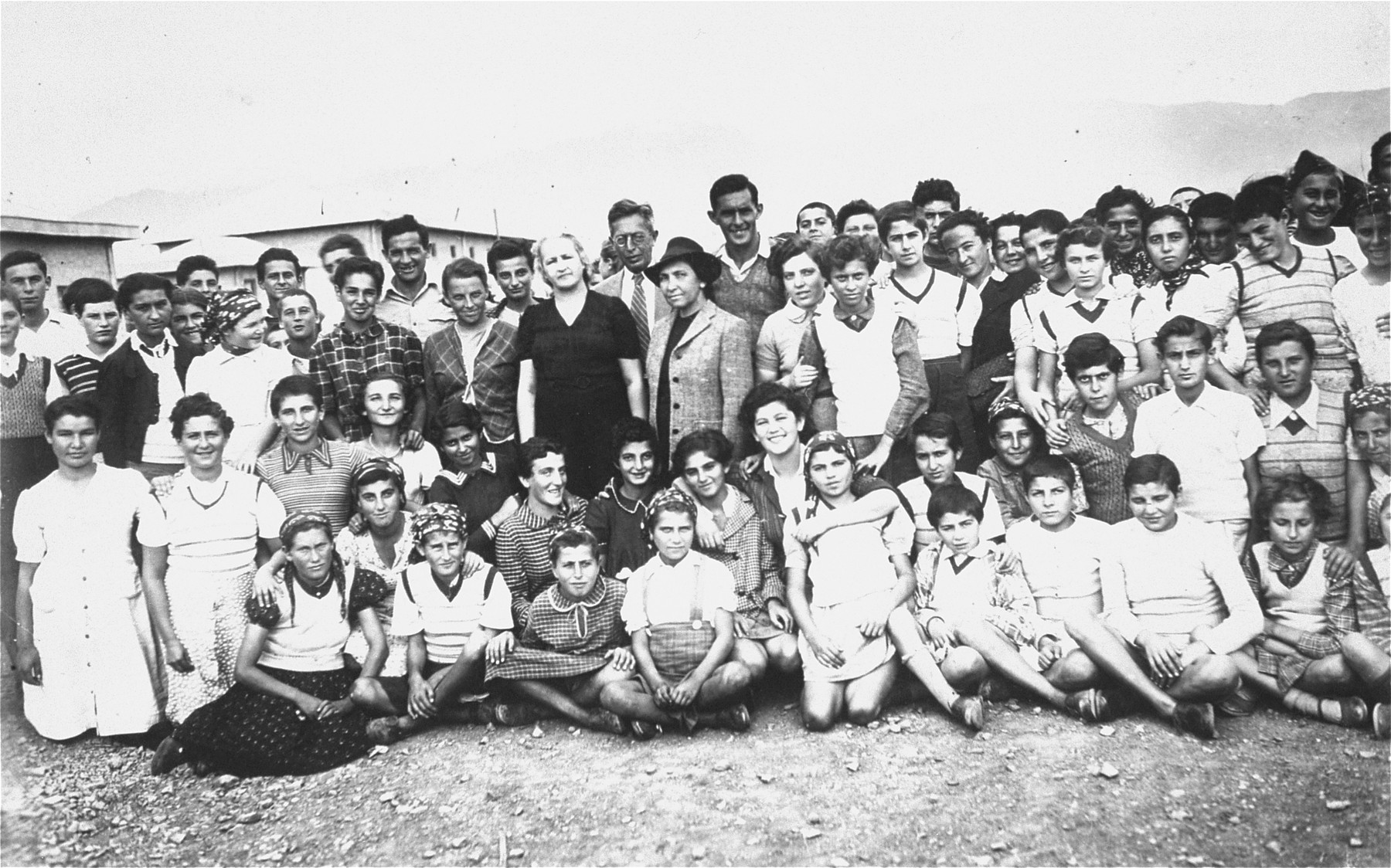 Group portrait of the members of the Teheran children's transport at a refugee camp in Teheran.