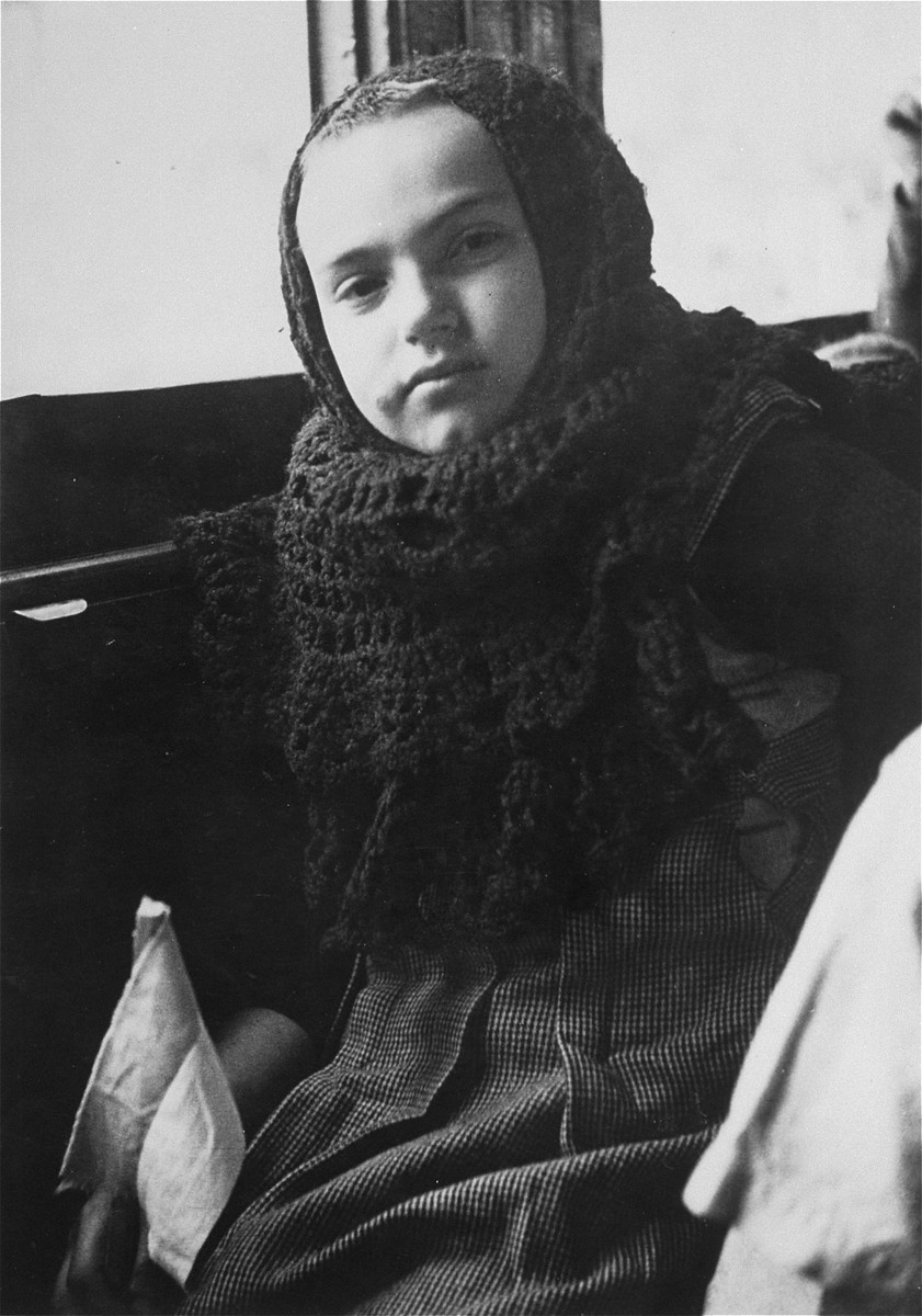 Portrait of one of the Teheran children aboard a train from Suez to Athlit.