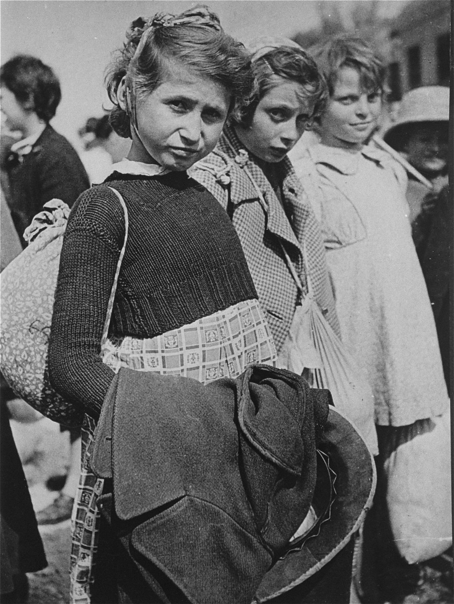 Three young Jewish refugee girls who are part of the Teheran children's transport are photographed just prior to their departure from Iran.