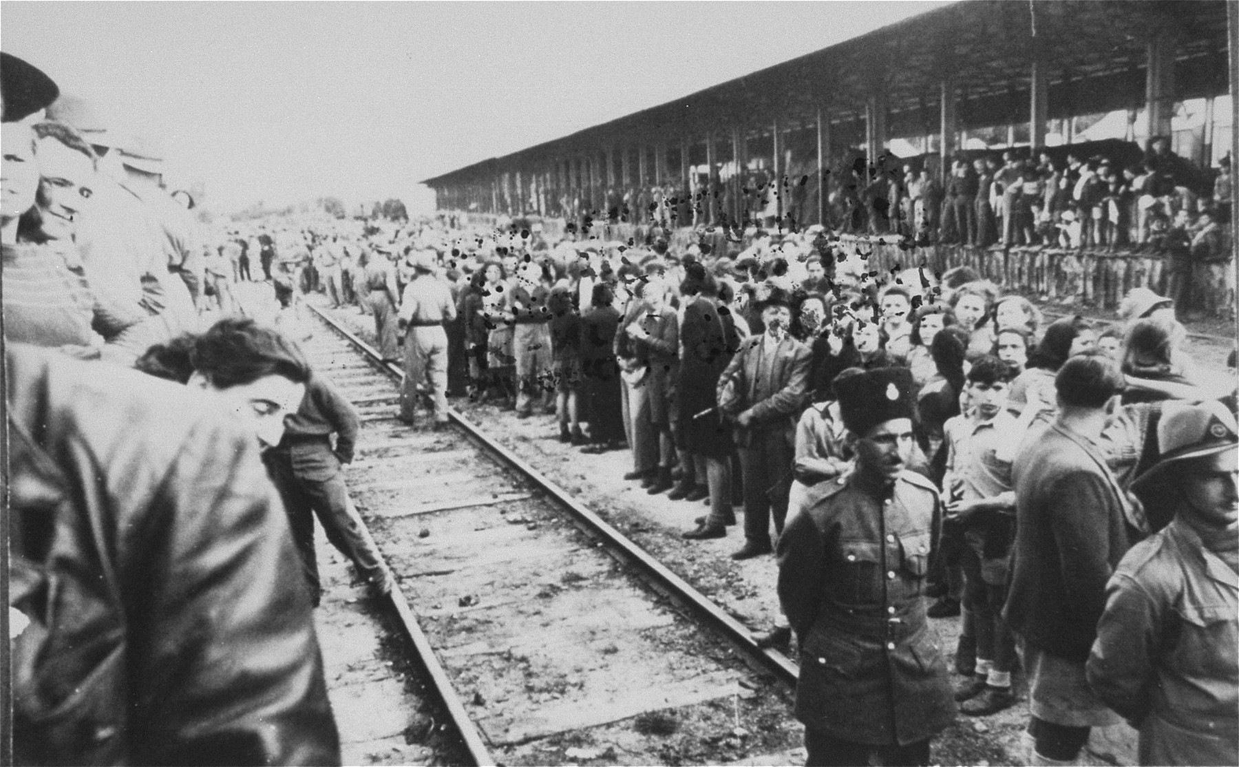 Members of the Yishuv (Jewish community in Palestine) await the arrival of the Teheran children at the train station in Rehovot.