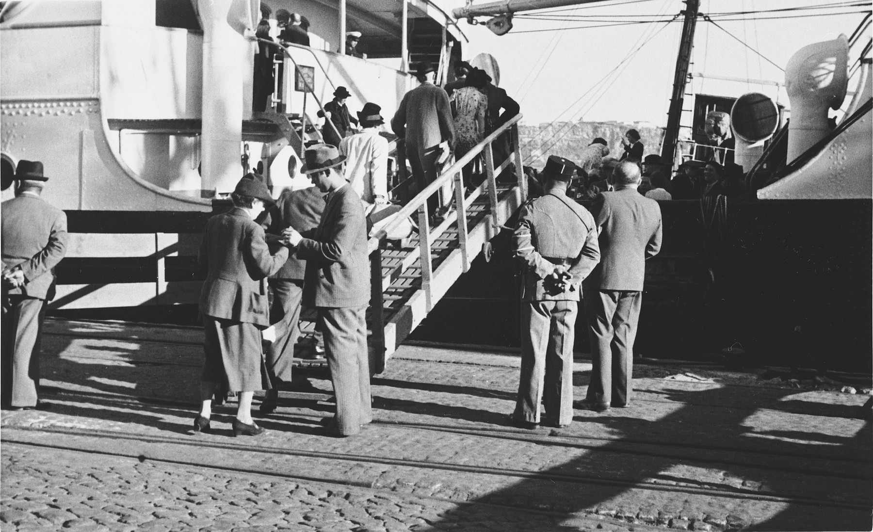 Jewish refugees board the SS Mouzinho in the port of Lisbon.
