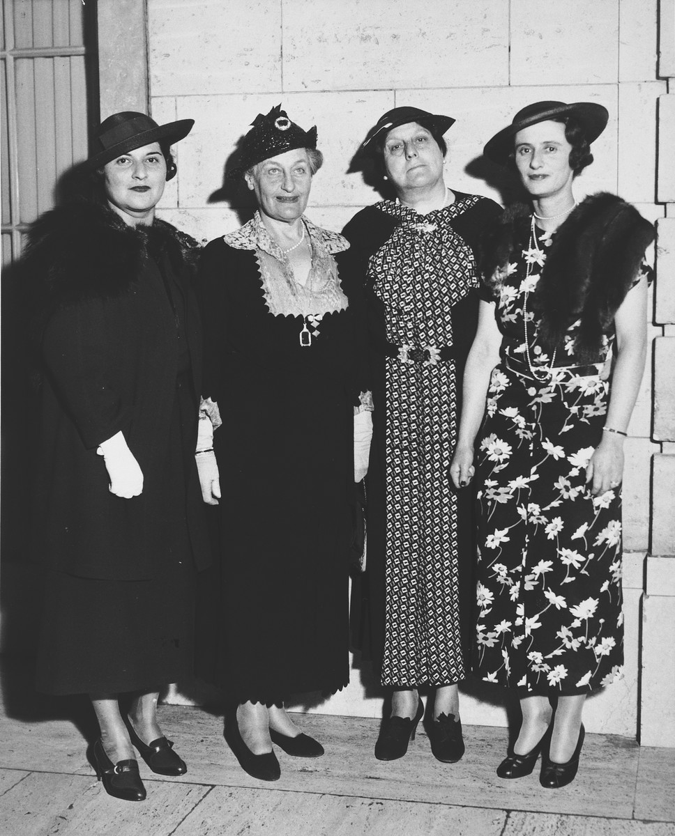 "Group portrait of American Jewish women who organized a fundraising drive for the United Jewish Appeal to raise money to settle German Jews in Palestine.  The original caption reads ""Prominent Jewish women organize to participate in the Greater New York Campaign of the United Jewish Appeal to raise $1,250,00 as New York's share of the $3,250,000 fund for the aid of the Jews of Germany and other lands for their settlement in Palestine.  The women have accepted a quota of $200,000.""  Pictured from left to right are: Mrs. Roger W. Straus, Mrs. Felix Warburg, Mrs. Abram Elkus and Mrs. Richard Percy Limburg."