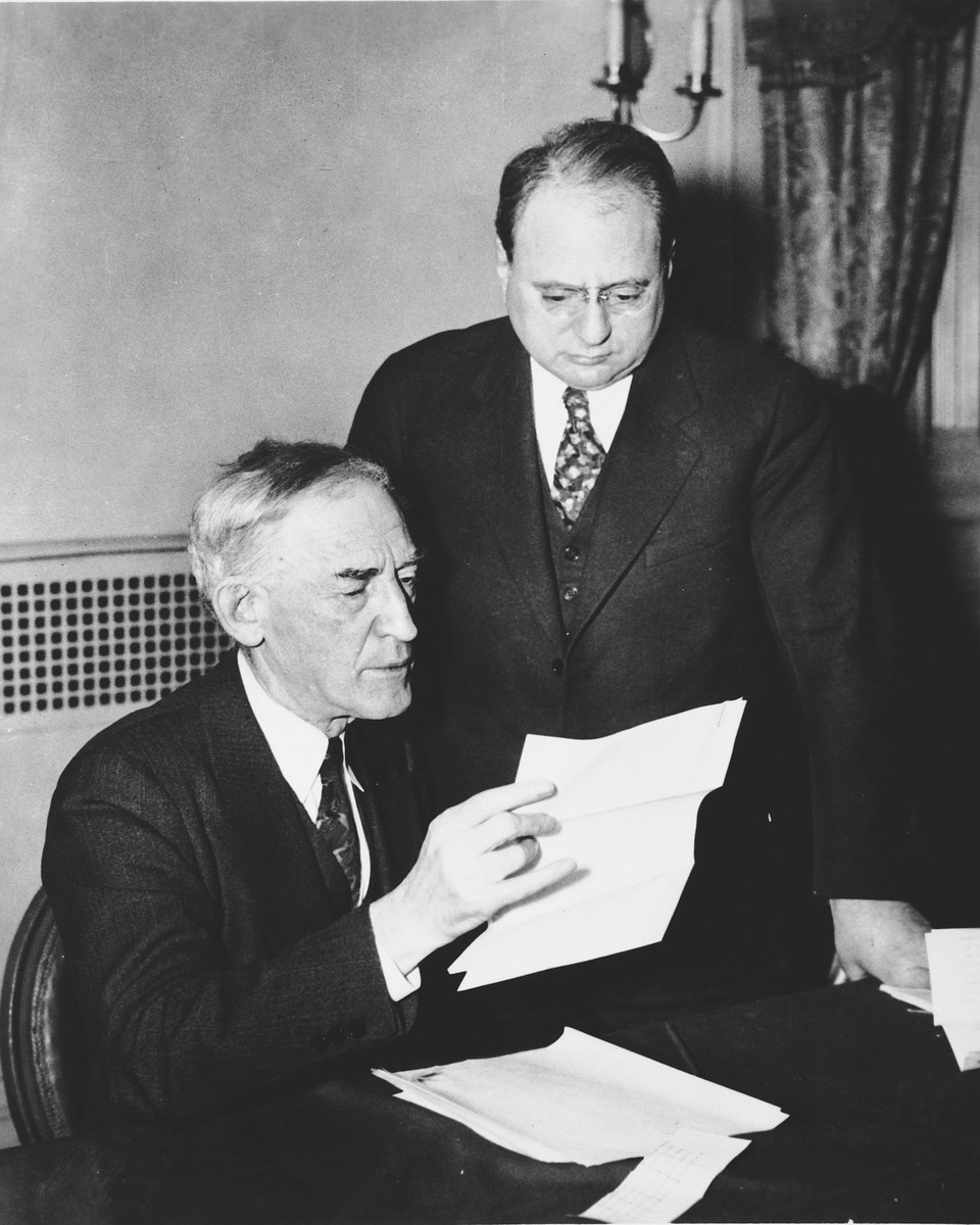Close-up portrait of American Zionist leaders, Louis Lipsky (president of the Zionist Organization of America) and Morris Rothenberg.