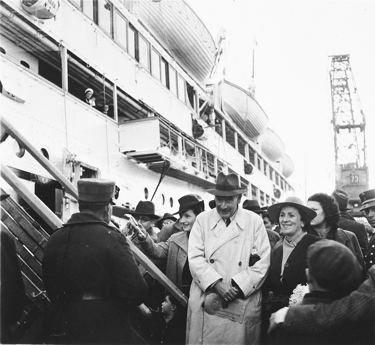 Jewish refugees prepare to board the SS Serpa Pinto in the port of Lisbon.