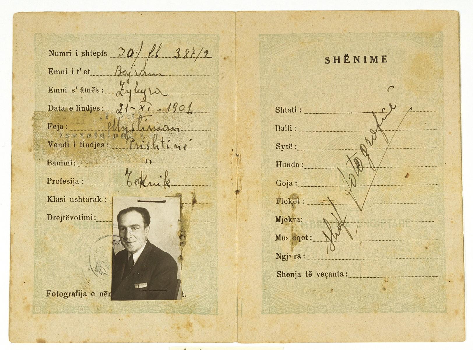 False identification card used by the Jewish refugee Majer Altarac in occupied Yugoslavia.  The identification card was issued in the name of Muharem Bajram Hasani, a Muslim born in Pristina November 21, 1901.