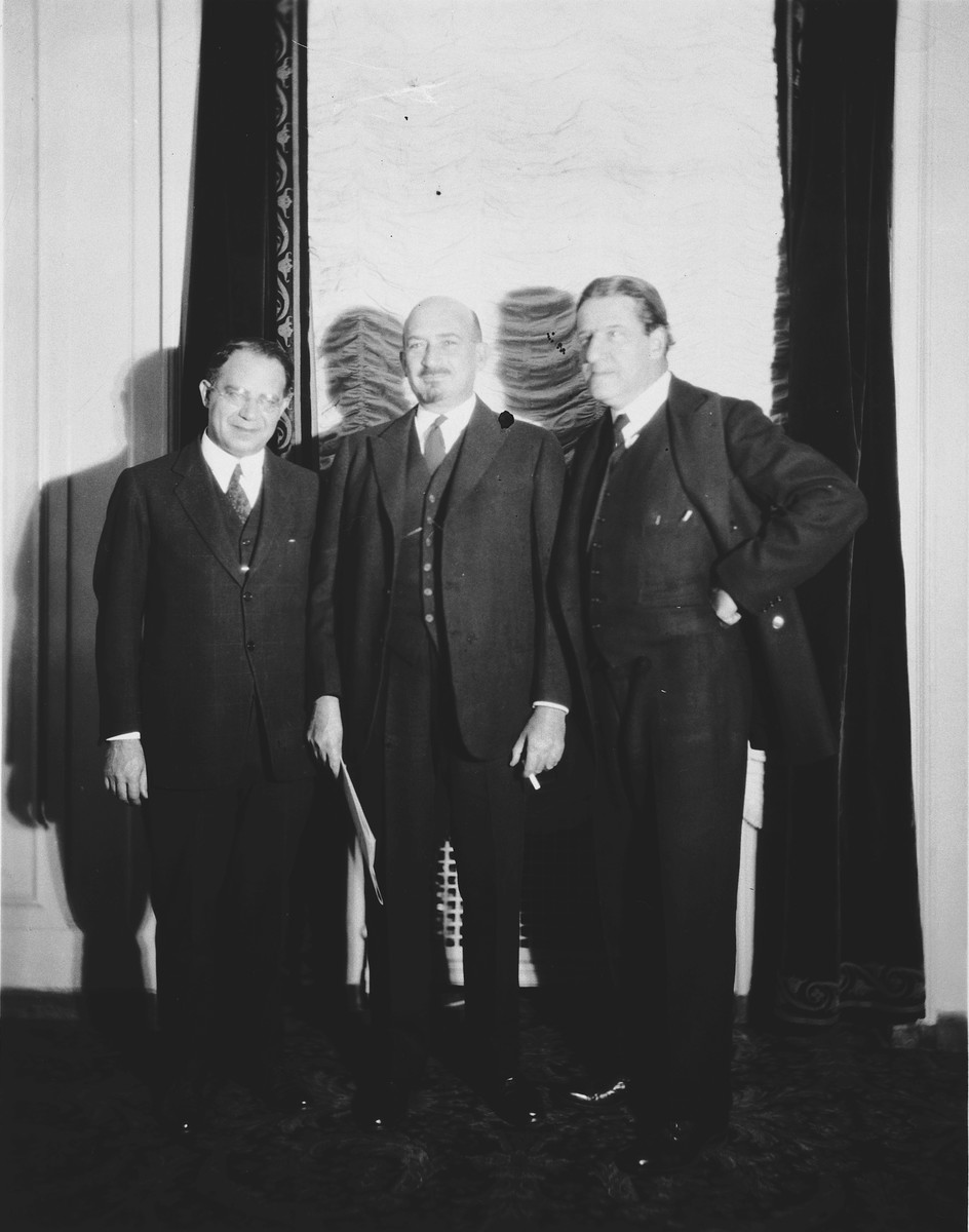 Three Zionist leaders meet for the purpose of raising $7,500,000 for the United Palestine Appeal.  From left to right are Judge William M. Lewis, chairman of the United Palestine Appeal, Dr. Chaim Weizman, President of the World Zionist Organization, and Rabbi Stephen S. Wise, honorary chairman of the United Palestine Appeal.