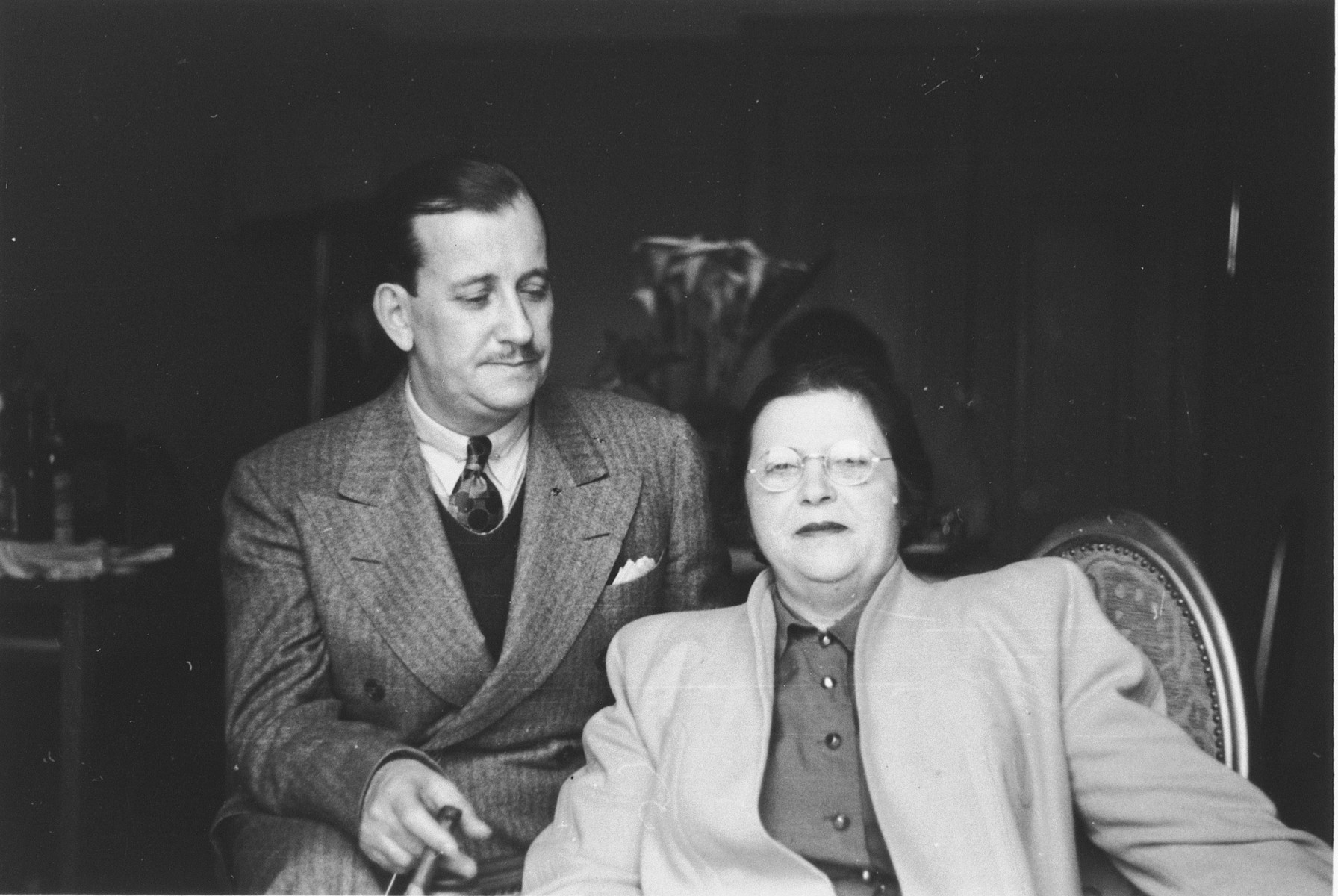 JDC executive Morris Troper and his wife at the European headquarters of the American Joint Distribution Committee in Lisbon.