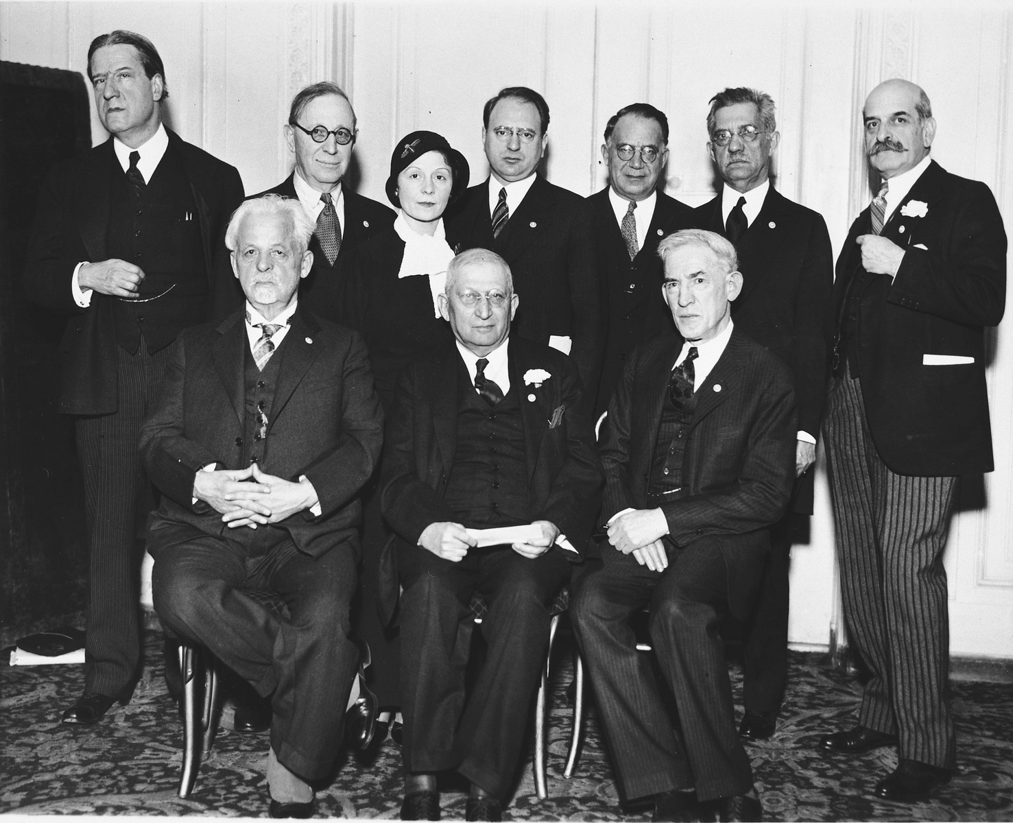 American Jewish leaders meet at the Hotel Astor to launch the 1933 American Palestine Appeal.  Pictured left to right.  Seated: Z.H. Maslansky, Dr. Cyrus Adler, and Louis Lipsky, Chairman.  Standing: Dr. Stephen Wise, Judge Julian W. Mack, Mrs. Rose Halprin, Morris Rothenberg, Judge William M. Lewis, Dr. Samuel Schulman and Felix M. Warburg.