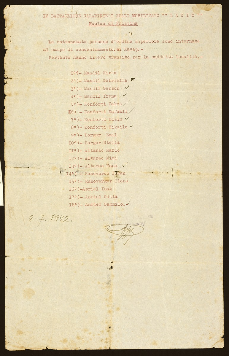 "A document issued by the IV Carbinieri Battalion ""Lazio"" listing the names of 18 Jewish refugees imprisoned in Pristina who have been authorized to leave by truck for Albania.  Among those listed are the three members of the Altarac family and the four members of the Mandil family."