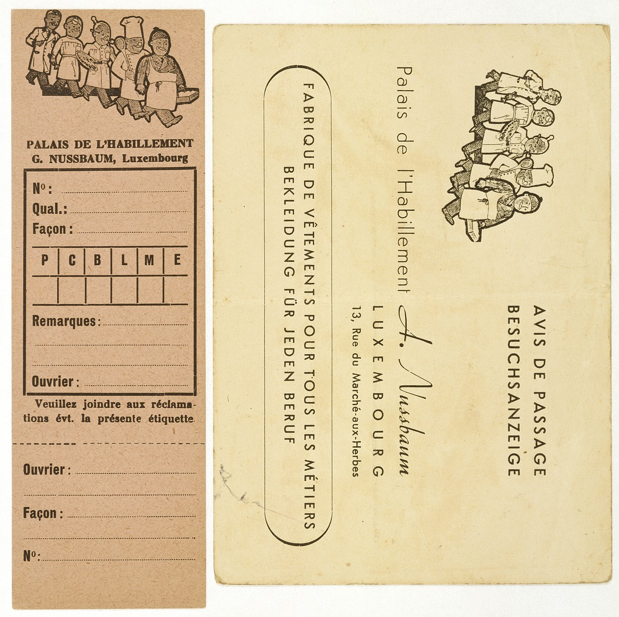 Business card belonging to Albert Nussbaum, owner of the Palais d'Habillement clothing factory on the rue du Marche-aux-Herbes in Luxembourg.