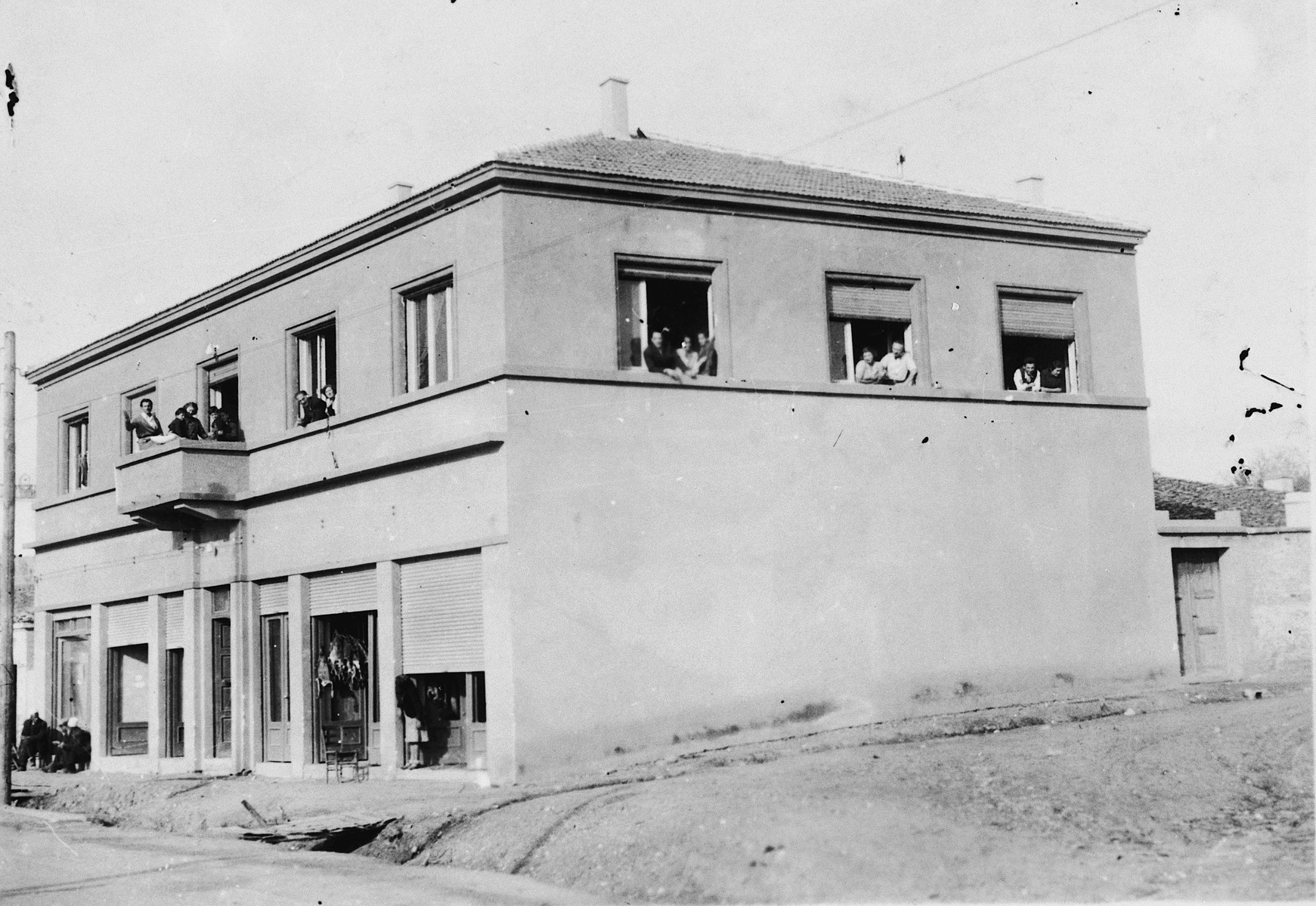 View of the building (named the Red House) where five Jewish refugee families rented apartments after having escaped from Yugoslavia.