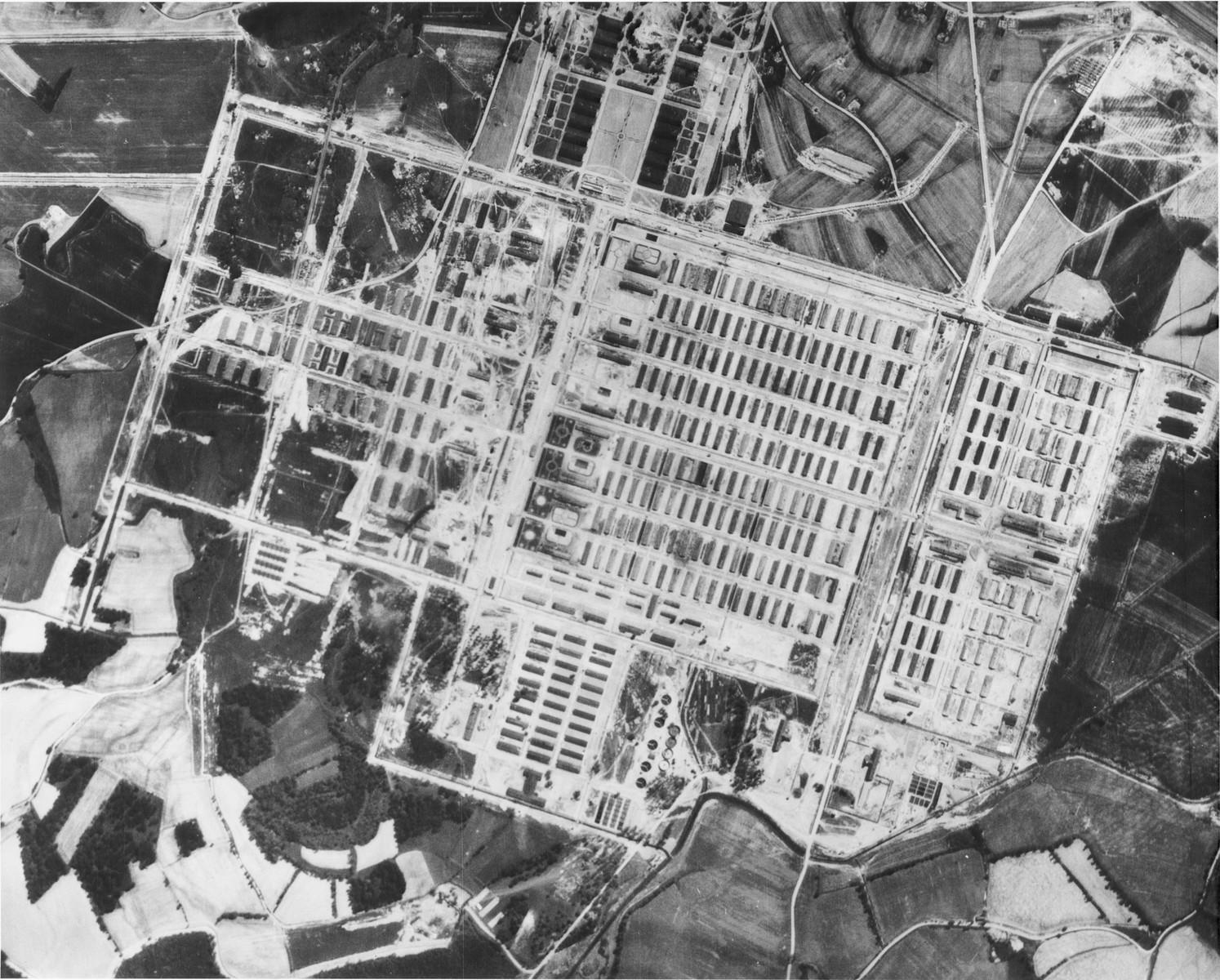 An aerial reconnaissance view showing the Auschwitz II (Birkenau) camp.