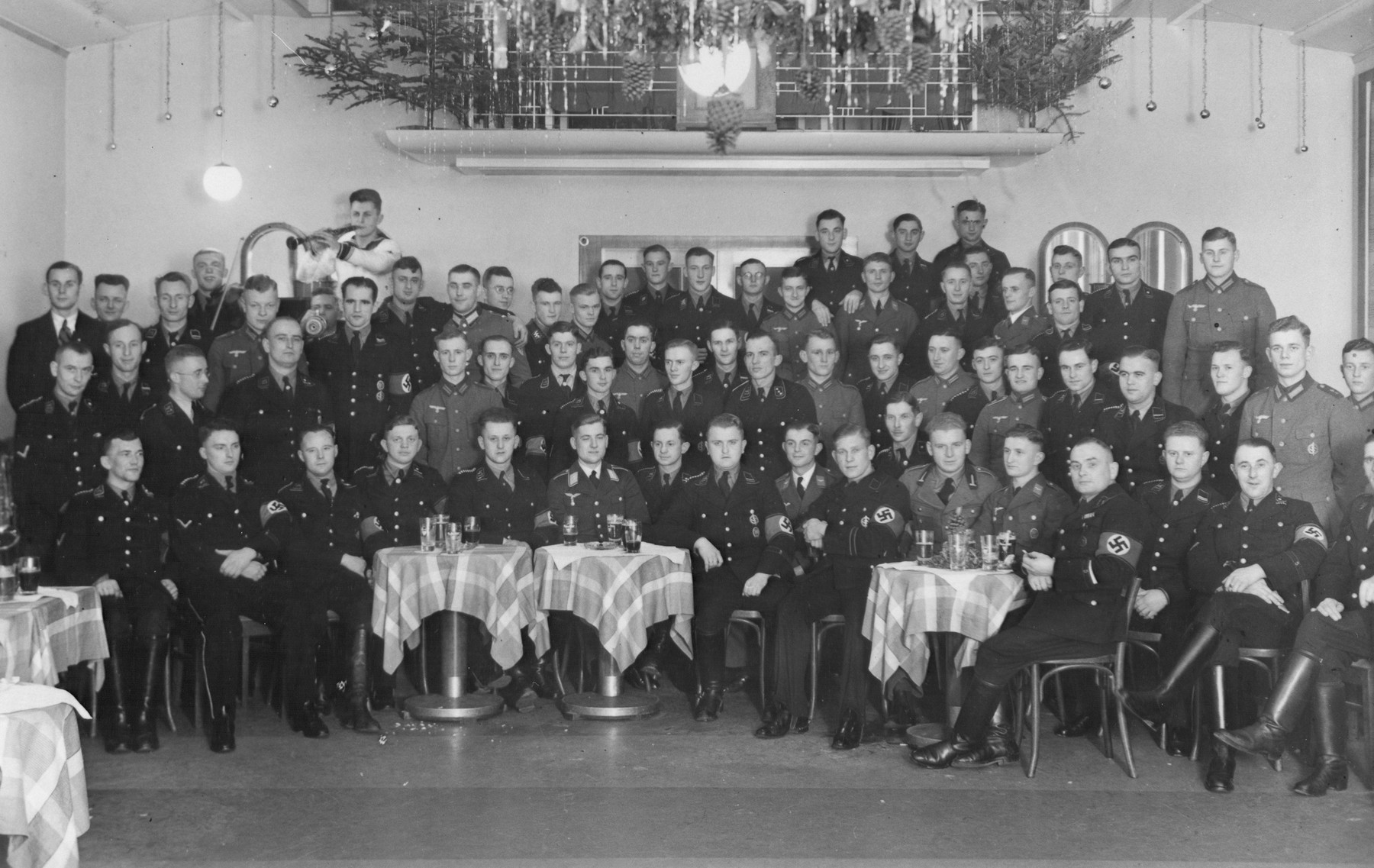 Group portrait of students at the Hitler Jugend Heim (Hitler Youth home) in Poessneck.