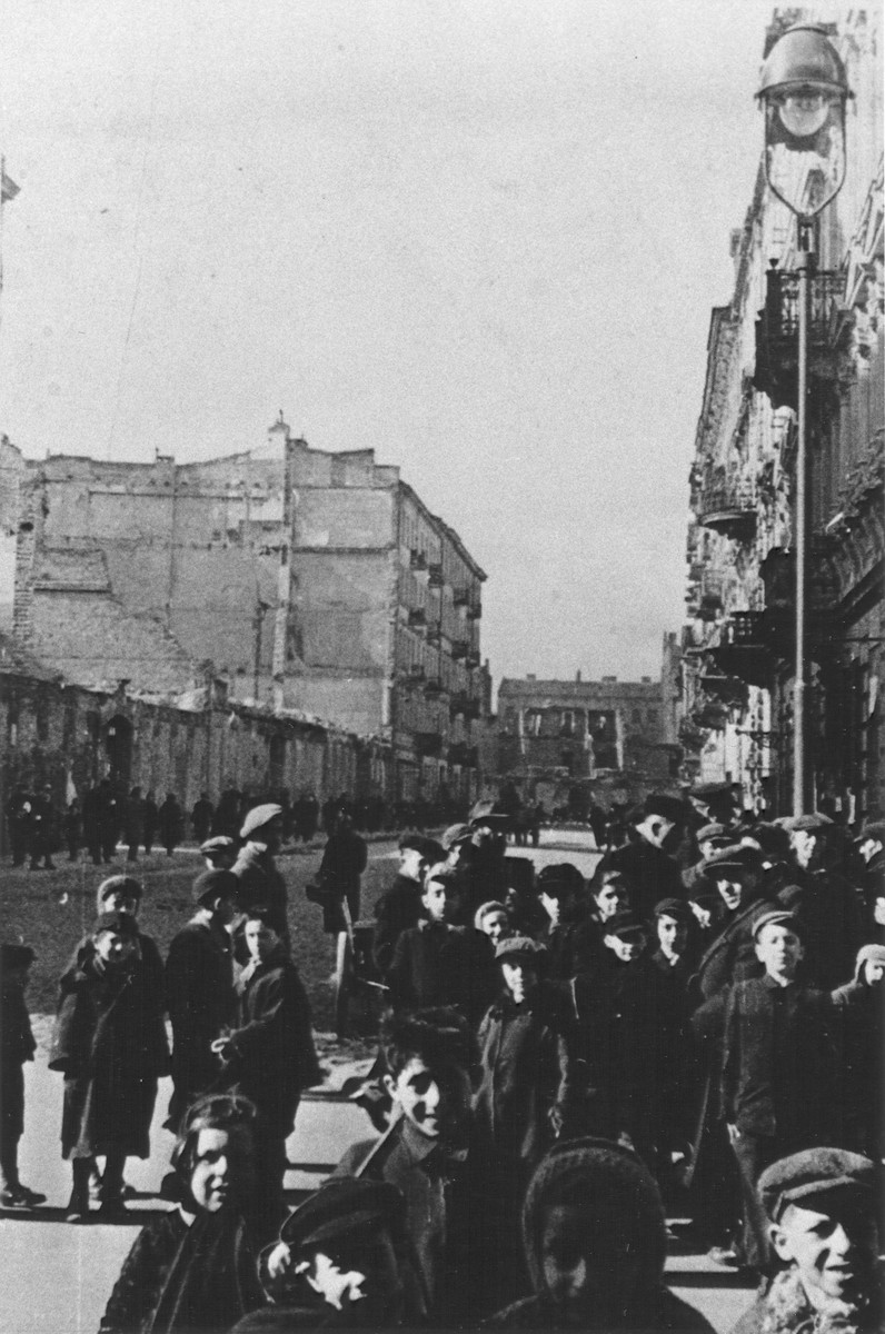 Jewish children on a street in the Warsaw ghetto.