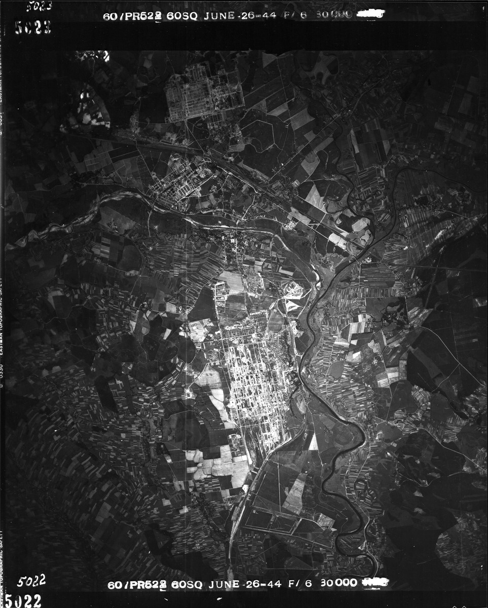 "An aerial reconnaissance photograph  showing  Auschwitz II (Birkenau),  including the I.G. Farben plant.  Mission:  60 PR/522 60 SQ: Focal Length: 6""; Altitude: 30,000."