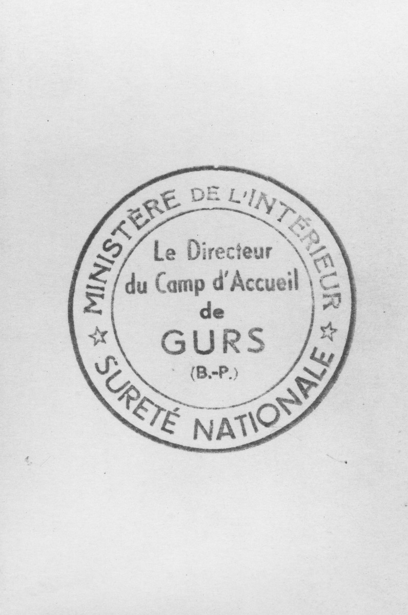 Imprint of the stamp of the director of the Gurs internment camp.