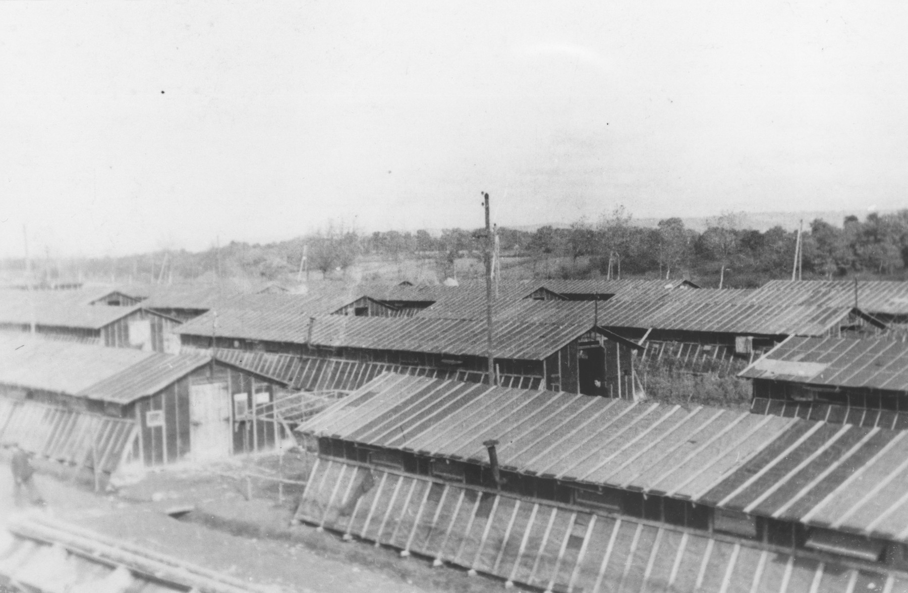 View of the barracks in the Gurs internment camp.