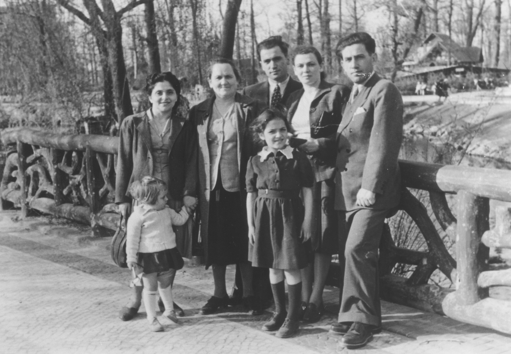 Group of survivors from Kazimierza Wielka who Shmuel Rakowski escorted out of Poland on a Bricha route.  Among those pictured are Israel Zalzman; his brother  Arye Zalman with his wife,  Bat Sheva Zalzman; and  Bat Sheva's mother, Hava Kaplan.