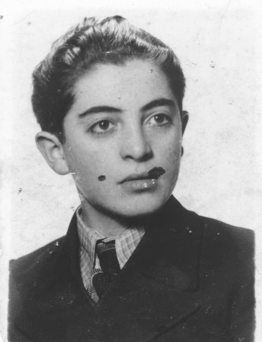 Portrait of Shmuel Rakowski that his mother kept hidden in her shoe during her imprisonment in labor and concentration camps.  A female guard discovered the photograph and promised to keep it for her until after the war.  She kept her promise and returned the photograph after liberation.