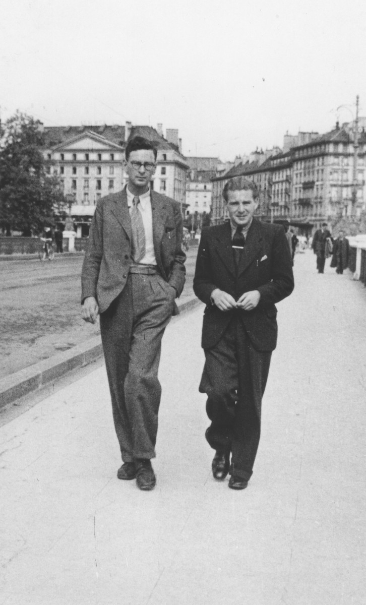 René Karschon (left) walks down a street in Geneva shortly after his escape from France.
