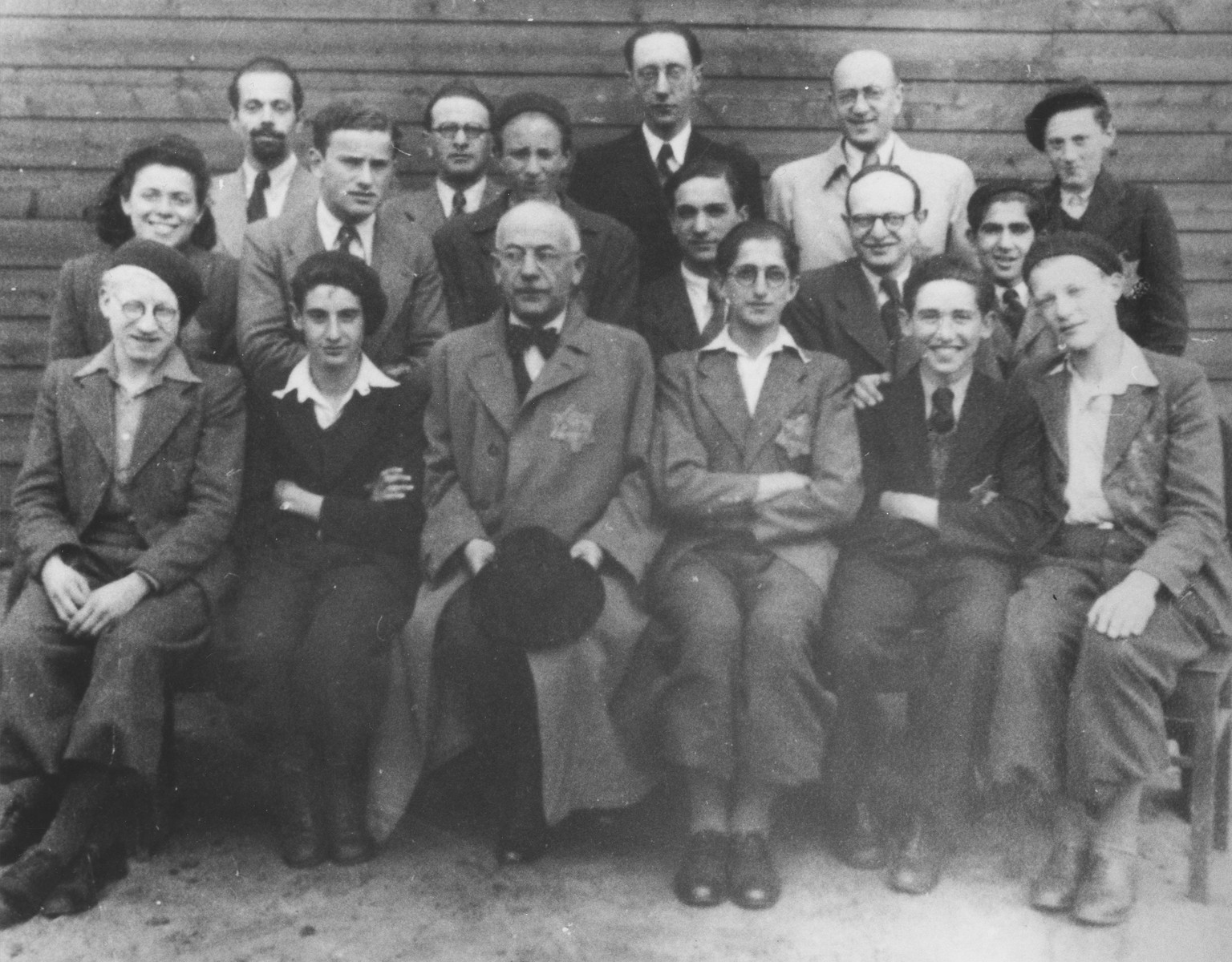 Group portrait of Jewish prisoners in the Westerbork transit camp.  Those pictured include Sigmund Samson and Paul de Vries.