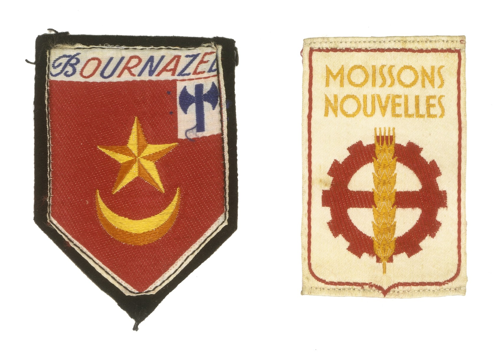 Two insignia from the uniform of the Vichy fascist youth movement, Moisson Nouvelles.