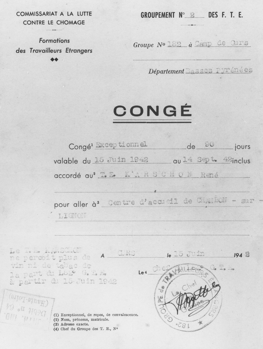 Permit issued by the Formations des Travailleurs Etrangers (the organization of foreign workers in France) to René Karschon authorizing his release from the Gurs internment camp for a period of three months to go to a reception center in Le Chambon-sur-Lignon.