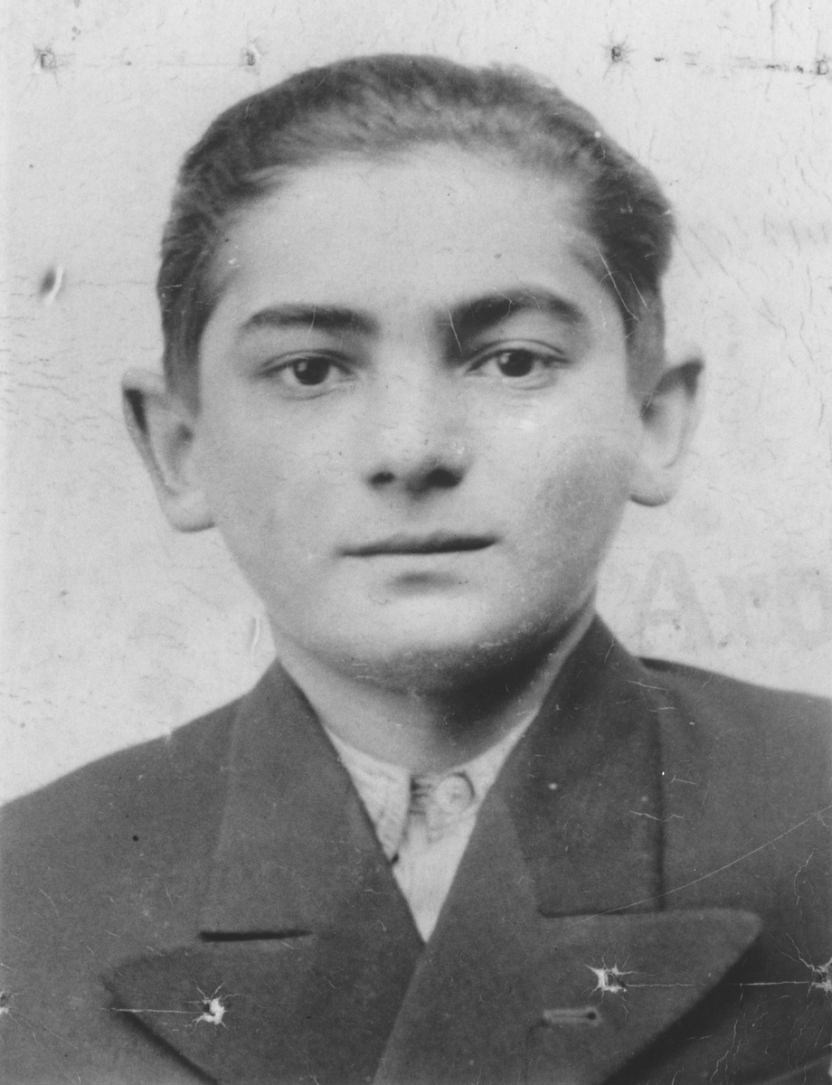 Portrait of Israel Rakowski that his mother kept hidden in her shoe during her imprisonment in labor and concentration camps.  A female guard discovered the photograph and promised to keep it for her until after the war.  She kept her promise and returned the photograph after liberation.