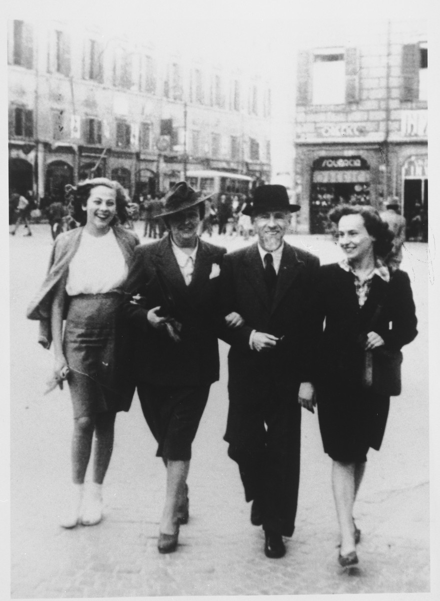 The Falco family goes for a stroll through the Piazza del Duomo.  From left to right are Graziella, Gabriella, Mario and Anna Marcella Falco.