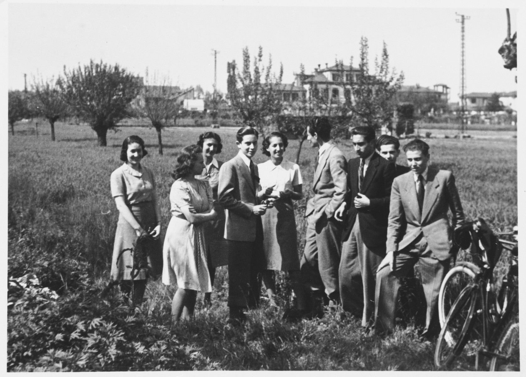 Students from the Jewish high school in Milan go for a bicycle ride in the countryside.