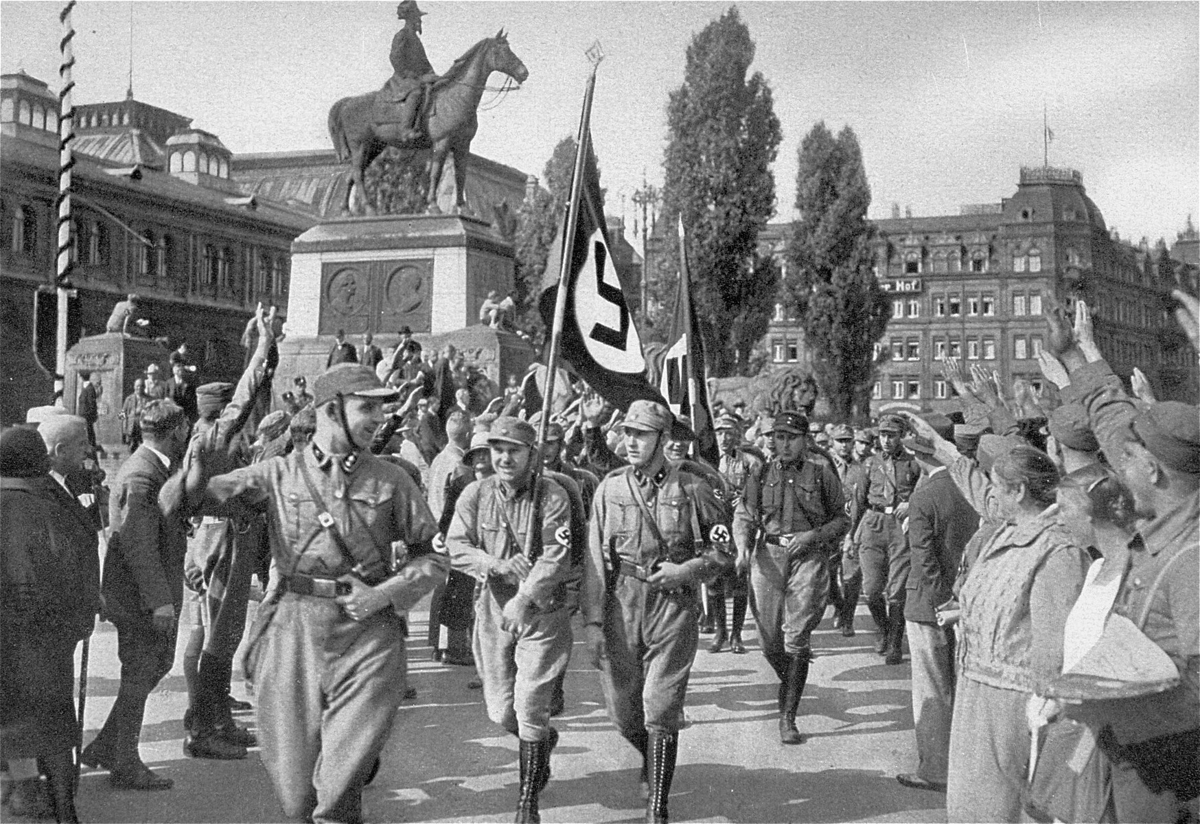 Horst Wessel leads his SA formation through the streets of Nuremberg during the fourth Nazi Party Congress.