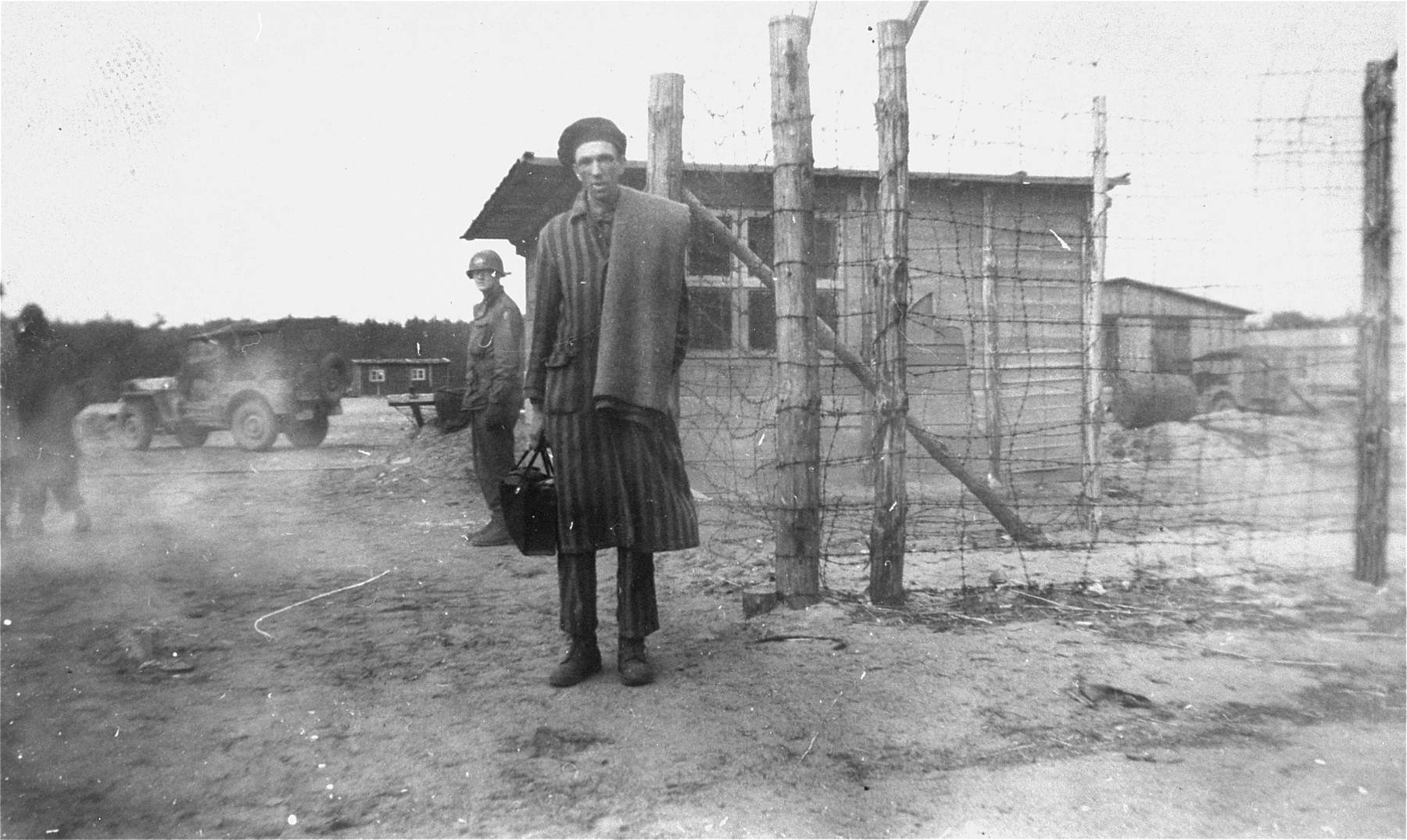 A Hungarian survivor liberated in Woebbelin by the U.S. Army.
